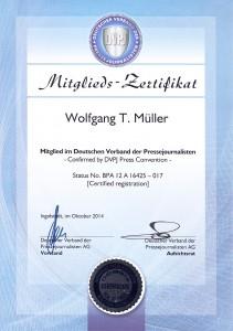 Presseausweis-Urkunde